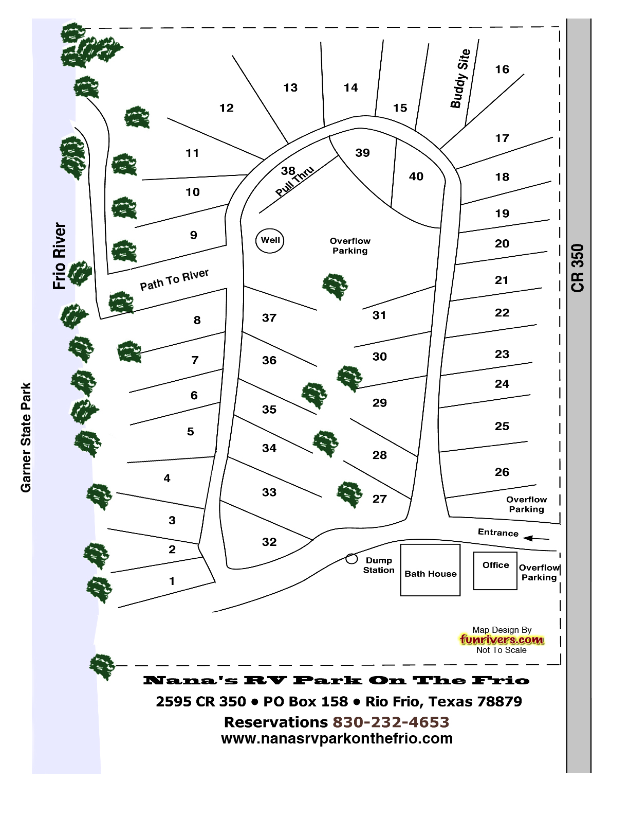 Nana's RV Park On The Frio Location and Map